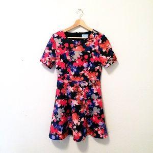 CeCe floral drop waist dress black floral
